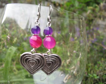 Heart and pink and purple agate earrings