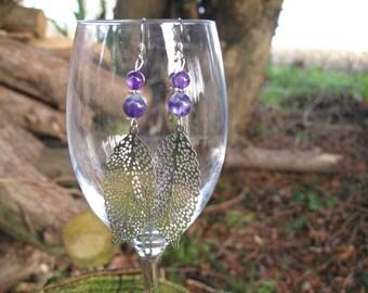 Amethyst and filigree leaf earrings