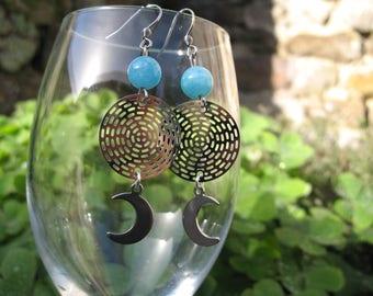 Earrings ' steel Moonstone and aquamarine earrings