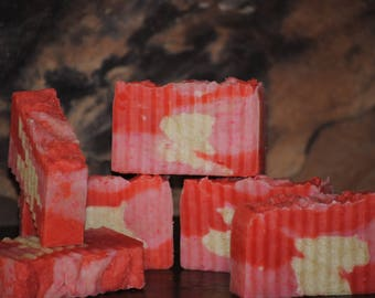 Strawberry Ice Cream rustic bar soap