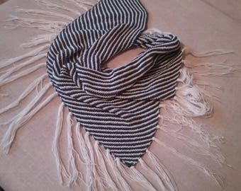 Shawl scarf/shawl or pareo has stripes in white and blue cotton