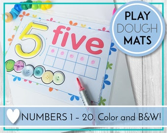 Number Play Dough Mats, Play Doh, Number Printables, Counting Preschool & Kindergarten Learning, Teaching Education Resource Kids Activities