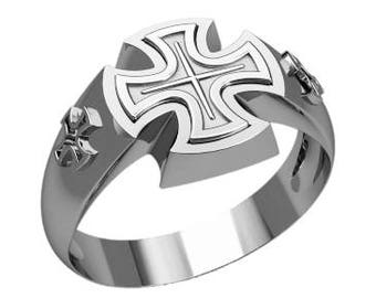 Knight's Cross of the Iron Cross Men Ring Sterling Solid Silver 925 SKU30279