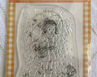 Stampavie photopolymer clear stamp Sarah Kay image Charlotte and Pepe walking in the rain