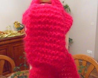 100% Fuchsia Mohair scarf