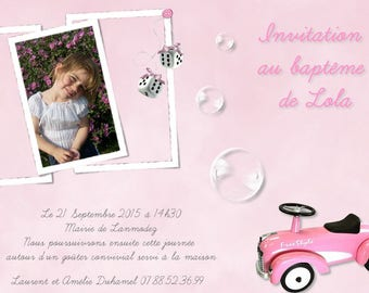 Cheap baptism girl bubbles and car with photo invitation