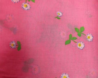 Great vintage voile cotton pink flowers