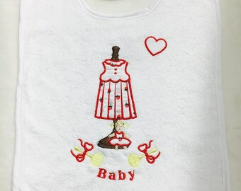 Embroidered and appliqué bib