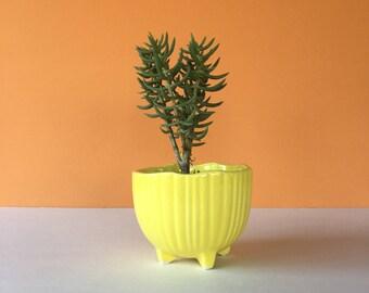 Vintage Yellow Ceramic Planter, Art Pottery, Flower Pot, Succulent Planter, Cactus Planter