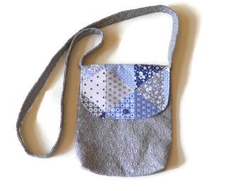 Grey and blue shoulder bag