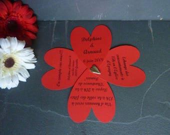 Original envelope with heart wedding invitation