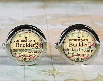 Boulder Colorado cuff links, Boulder map cufflinks wedding gift anniversary gift for groom groomsmen gift for best man Father's Day gift