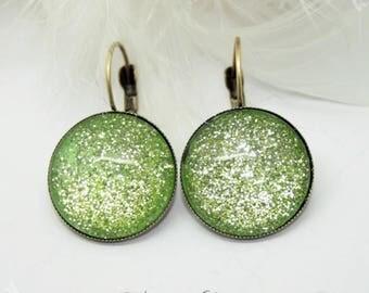 Stars glitter & green Glitter earrings