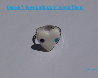 Adjustable ring white heart with blue and purple dots