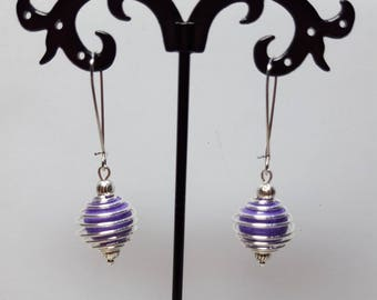 Purple howlite spiral earrings