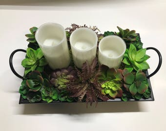 Succulent Candle Tray Centerpiece