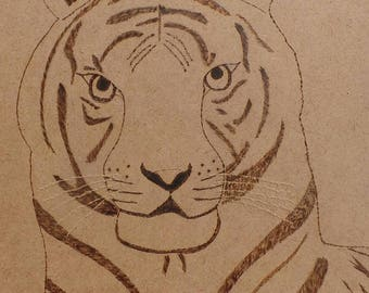 Tiger in pyrography on wood molded single plate