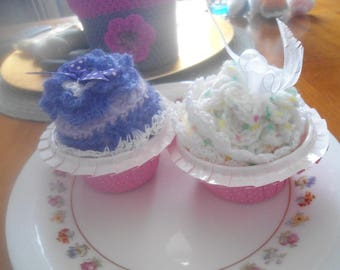 Two hand made crochet cakes cupcakes