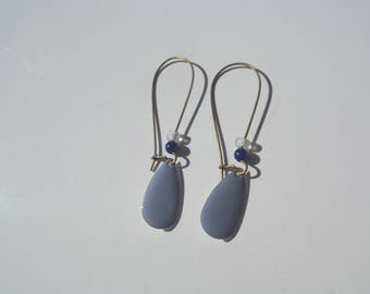 Great sleepers bronze, beads and sequin drop earrings blue