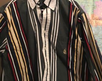 Rainbow-striped vintage 90s Nautica Oxford Shirt LARGE