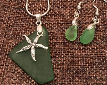 Green sea glass and star fish set