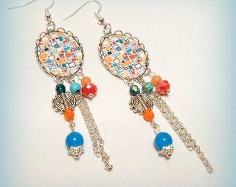 """""""Pop - pattern"""" cabochon earrings"""
