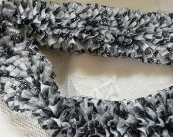 scarf black and white and silver highlights
