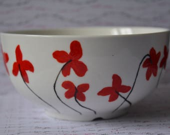 Hand painted Bowl red flower