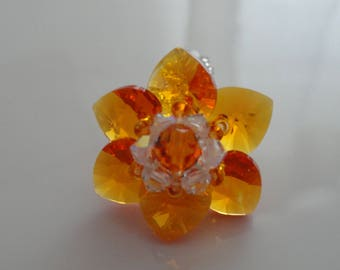 Ring Orange Tangerine Swarovski Crystal beads