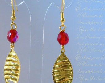 Gold leaf and Crystal - Red