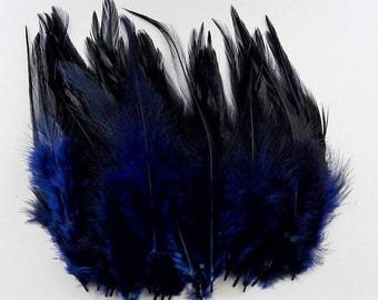 set of 50 feathers Midnight blue shade 10-15cm