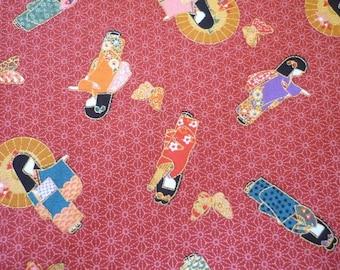 Japanese kimono - red background (Japan) fabric