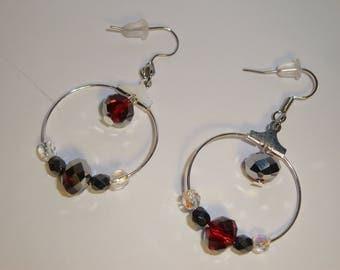 2.5 cm red hoop earrings, Crystal, wedding pearls