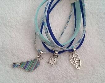 Cuff Bracelet shades of blue and little bird 19 cm