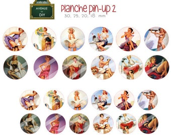 Collage sheet digital pin up vintage creation round cabochons (18 30, 25, 20 mm)