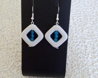 square and round Pearl Earrings