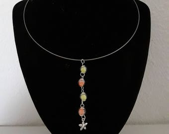silver necklace orange and neon yellow