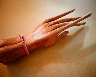 Blue and Red cotton thread Bali shamballa bracelet