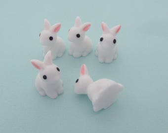 Set of 5 miniature white rabbits for miniature glass bottles decoration or dollhouses