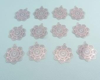 Set of 12 thin pendants - Flower - Stainless steel - 29x27mm