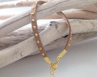Trendy suede studded bracelet