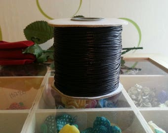 1 meter of Korean waxed polyester cord, mediumvioletred, 1 mm cord