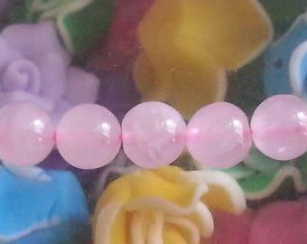 1 Pearl, rose quartz 8 mm in diameter, hole 1 mm
