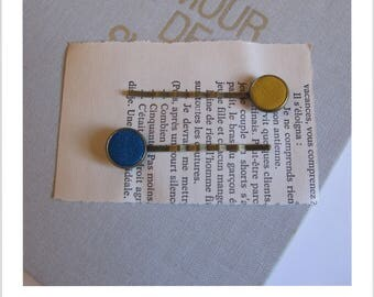 "Barrette, hair clip, vintage ""clip - me"" blue and yellow leather"