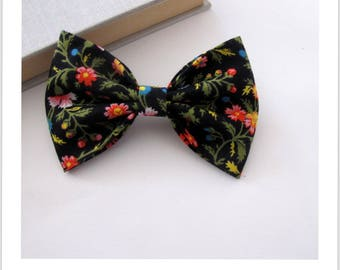 Bow tie and clip hair 2 in 1 black floral