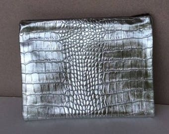 Silver faux leather clutch