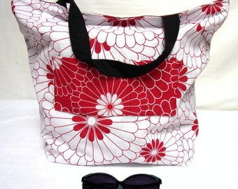 Large Tote bag beach bag or shopping REVERSIBLE tote bag