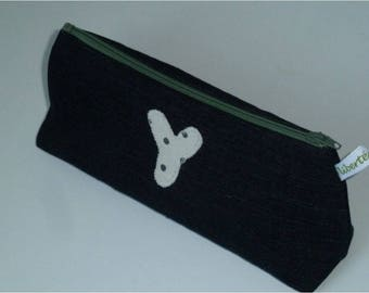 Recycled denim lace zippered pouch, with applied Y