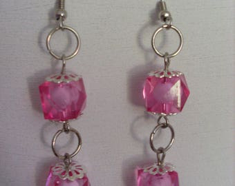 Earrings double bicone beads