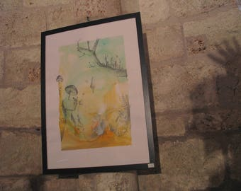 Painting - Landscape dreamlike champignonant - watercolor and ink.